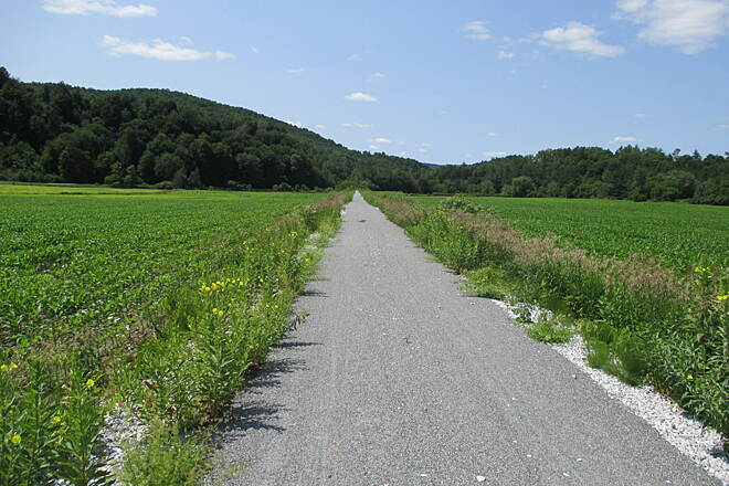 Lamoille Valley Rail Trail LVRT: Morristown to Cambridge Really nice going through this great Vermont landscape.  I should mention that the trail is basically uphill from Morristown to Cambridge, with the last 2 miles to Cambridge being a bit downhill.  Ride on the weekends only until the construction is done