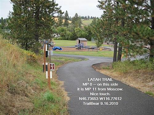 Latah Trail LATAH TRAIL The city park is the trailhead, restrooms, tennis courts.