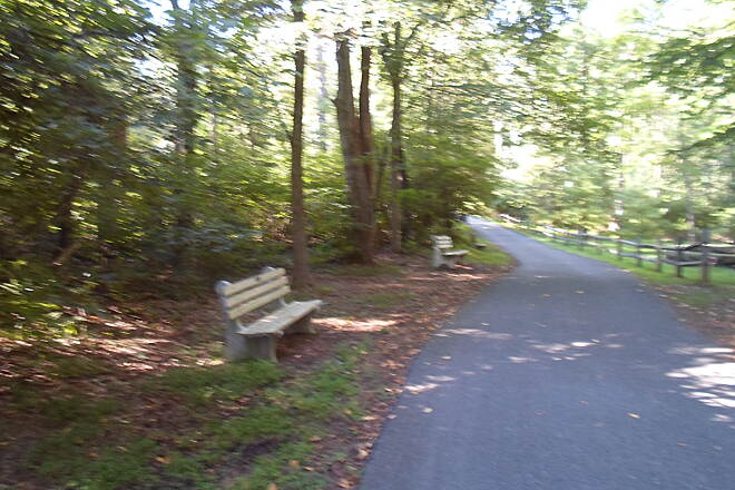 Lebanon Valley Rail-Trail Lebanon Valley Rail Trail Benches line the branch path to Mt. Gretna, providing en enjoyable experience in the warmer months of the year. Taken Aug. 2015.