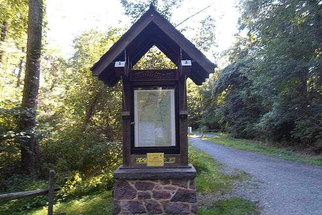 Lebanon Valley Rail-Trail Lebanon Valley Rail Trail One of the quaint kiosks that line the trail; this one is at the junction with the branch path into Mt. Gretna. Taken Aug. 2015.