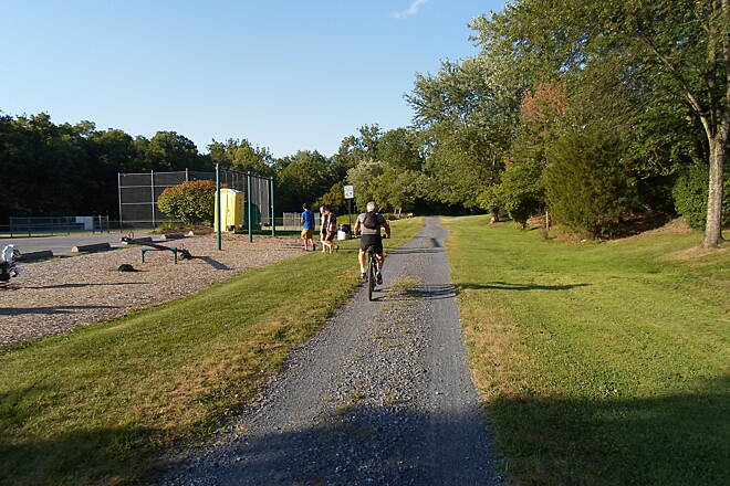 Lebanon Valley Rail-Trail Lebanon Valley Rail Trail Locals were enjoying both the trail and park facilities in Lawn on a warm, summer evening. Taken Aug. 2015.