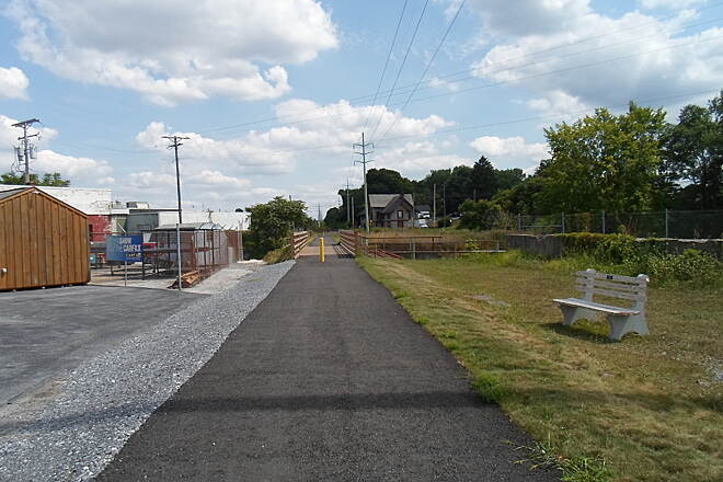 Lebanon Valley Rail-Trail Lebanon Valley Rail Trail Looking south from the current, northern terminus of the LVRT, at Route 422 in Lebanon, as of Aug. 2015.