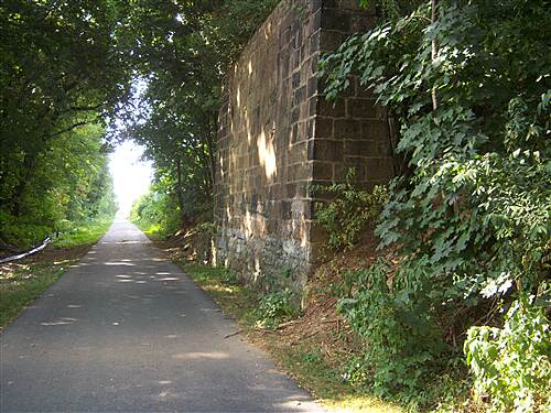 Lebanon Valley Rail-Trail Lebanon Valley Rail Trail This abuttment to a dismantled street overpass is a notable landmark on the trail near the south end of the city