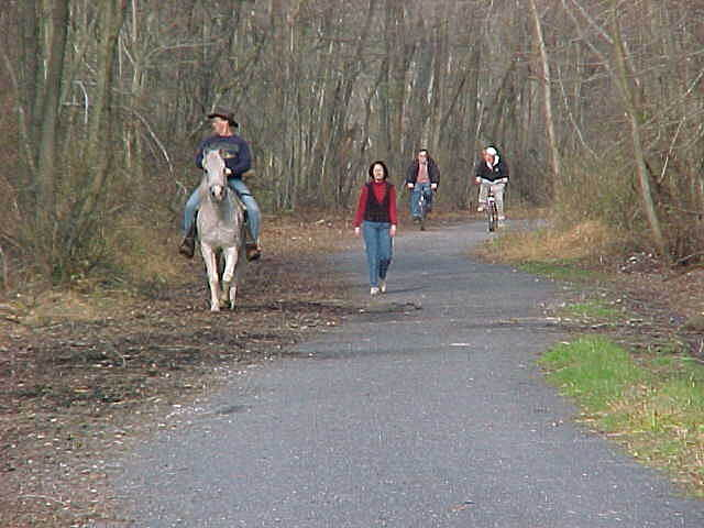 Lebanon Valley Rail-Trail   LVRT can accomodate horses on the parallel wood chip path.
