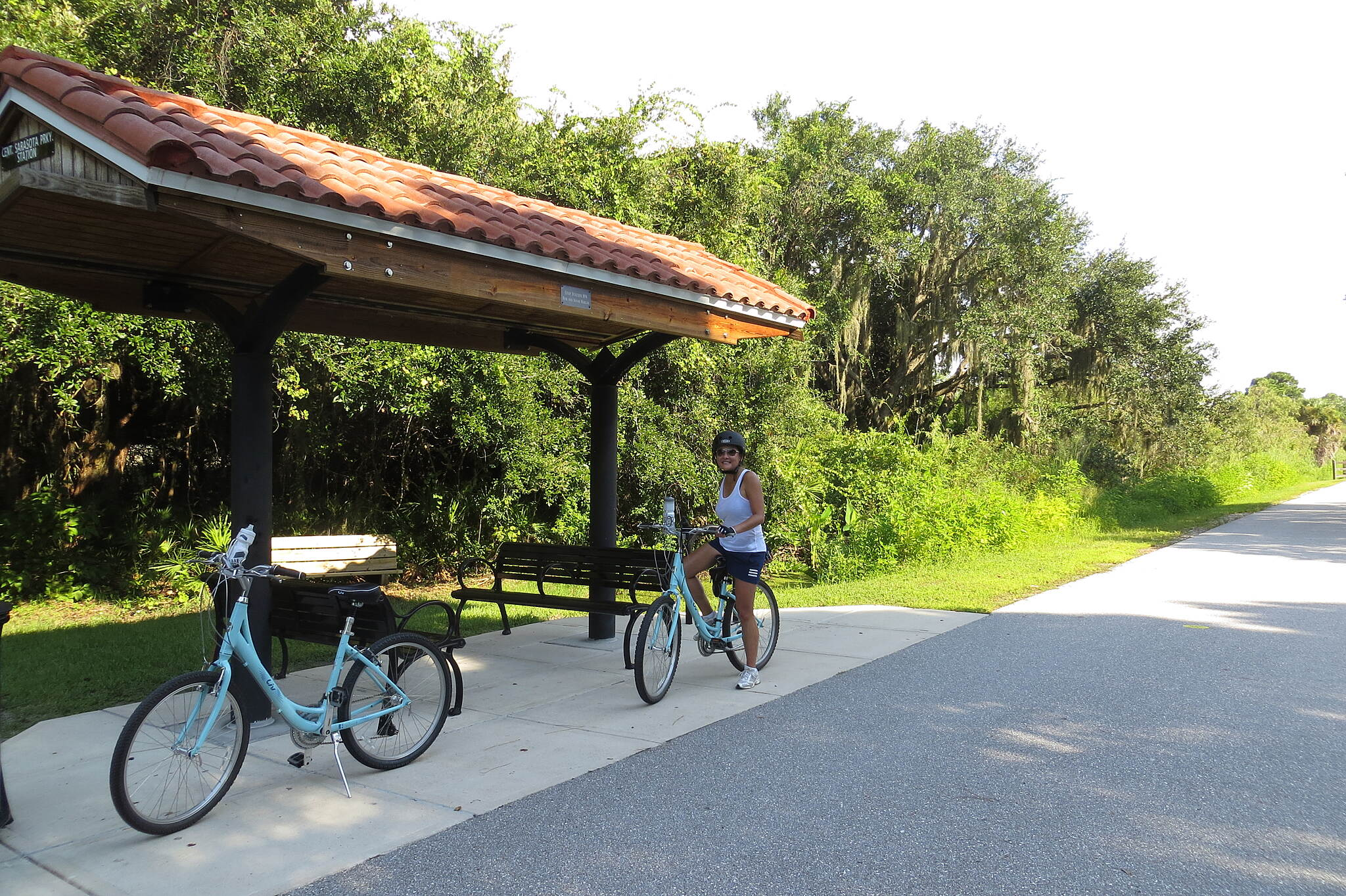Legacy Trail (FL) Legacy Trail Enjoy shaded respite from the Florida sun at the trail's many covered rest areas.