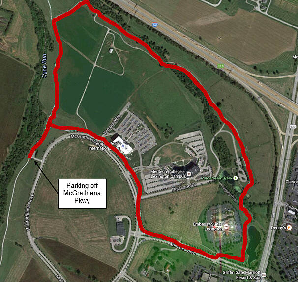Legacy Trail (KY) Aug 2015 Google map of Coldstream Farm loop, total distance is 2.4 miles