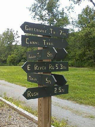 Lehigh Valley Trail  Sign at Junction Sign giving mileages at Rochester Junction