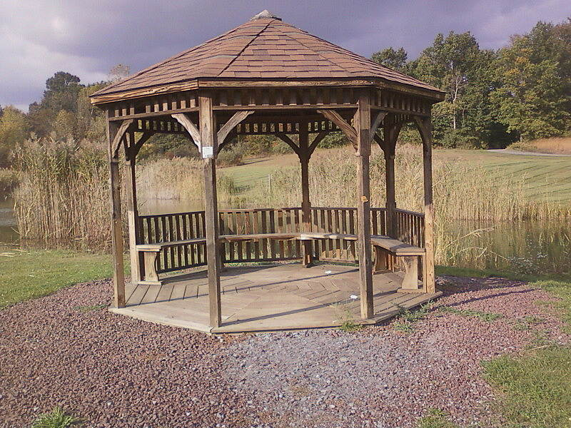 Lehigh Valley Trail  Gazebo at fishing pond This is at the eastern end of trailhead, just before entering trail(top right of picture.