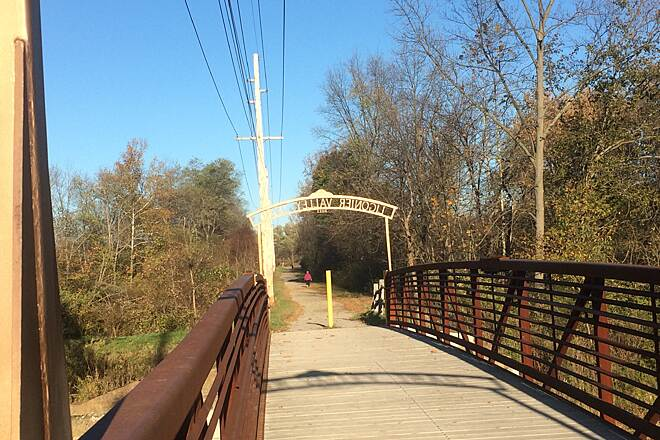 Ligonier Valley Trail LV Trail Bridge A photo of the Ligonier Valley Trail bridge from October, 2015.  Iron bridge with a wooden deck.