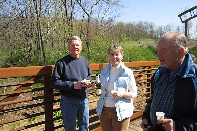 Ligonier Valley Trail Trail Project Managers Larry Shew and Rose Stepnick at the ribbon cutting April 27, 2013
