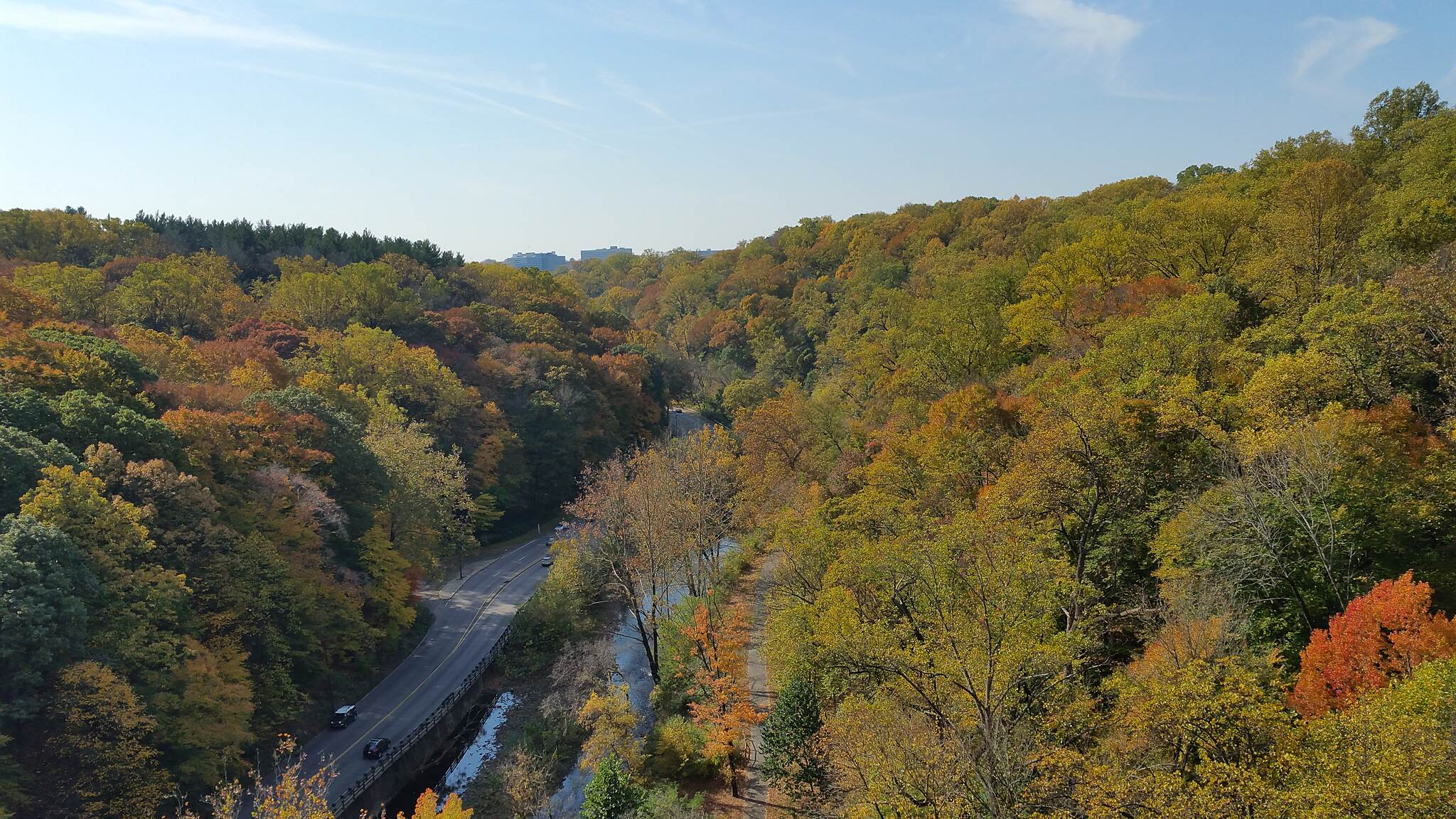 Lincoln Drive Trail  Amazing View From The Henry Ave. Bridge This picture was taken 11-02-2016. The Henry Ave Bridge goes over the Lincoln Dr., Wissahickon Creek, and the Lincoln Drive Trail. As you can see, the view is great. There is information stations to direct you on how to get to the bridge.