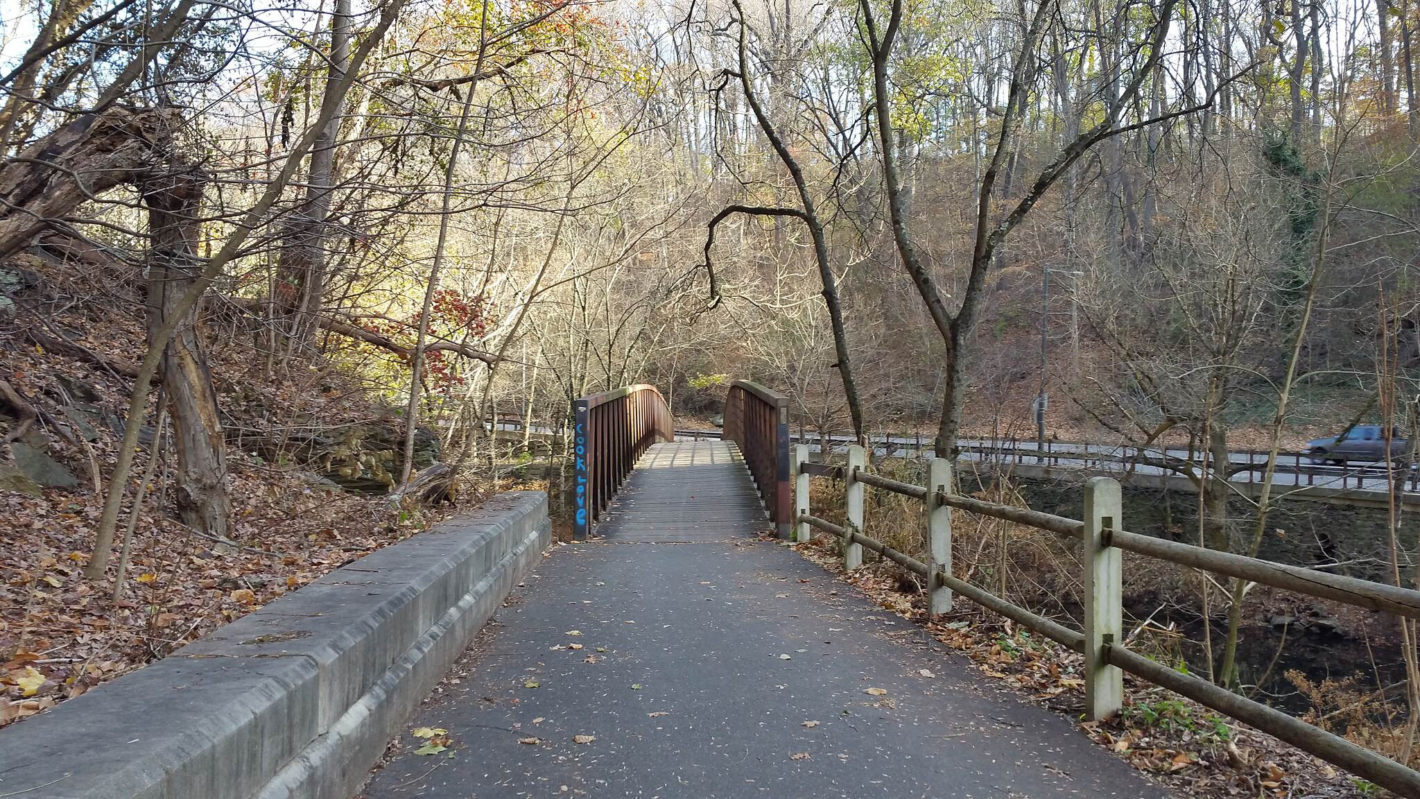 Lincoln Drive Trail  The Trail Bikepath Bridge Going Over The Wissahickon Creek Location just past the Henry Ave Bridge, north side.