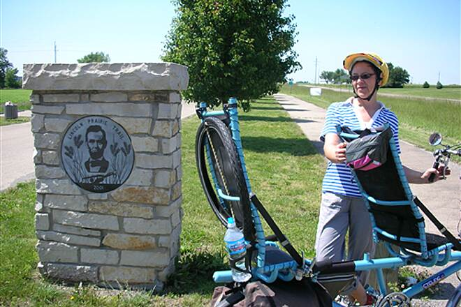 Lincoln Prairie Trail Robert & Jana from Melbourne, Australia on tandem blue at the end of Trail just before Pana
