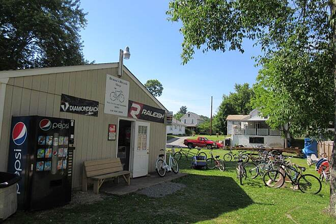 Little Beaver Creek Greenway Trail Bike Store in Lisbon Donna's Bike Store in Lisbon at mile 0.  Bike repairs and cold drinks for sale.