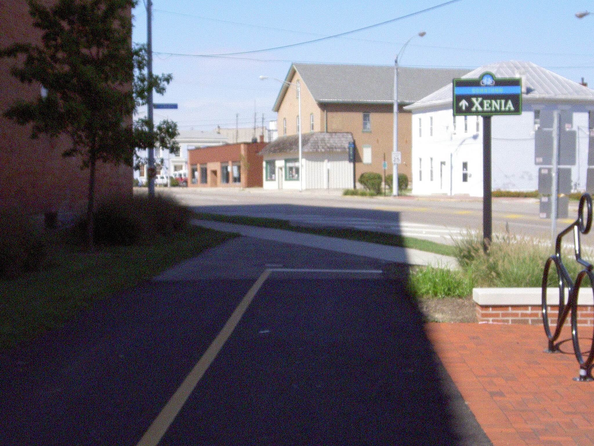 Little Miami Scenic Trail Xenia heading North Sept 2014 Start of 3 blocks on sidewalk of Detroit St – 3rd St to Church St