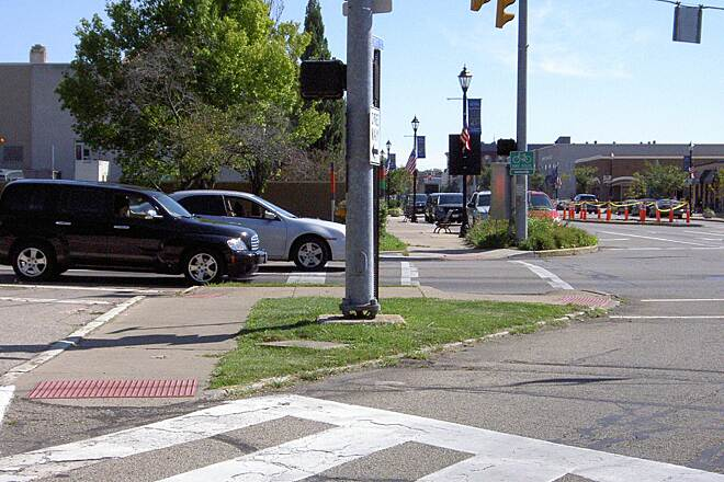 Little Miami Scenic Trail Xenia  Sept 2014 Crossing Detroit St at Church St – notice heavy afternoon traffic