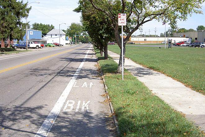 Little Miami Scenic Trail Springfield heading North  Bike Lane on S Yellow Springs St Sept 2014