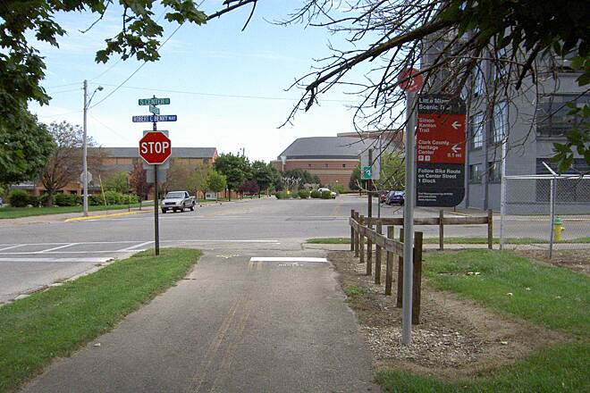 Little Miami Scenic Trail Springfield Sept 2014 North Terminus in Downtown Springfield – sign directs to other trails