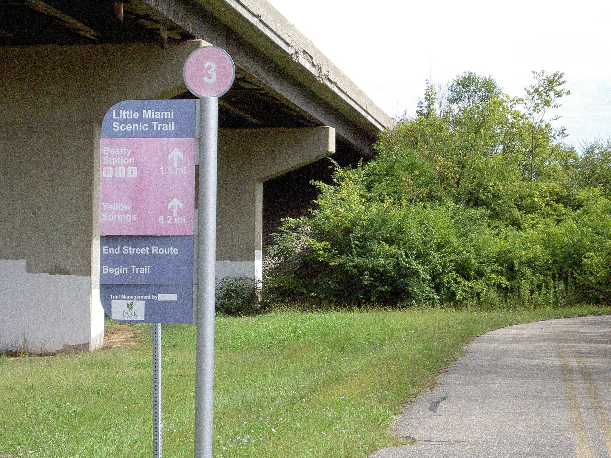 Little Miami Scenic Trail Sign in Springfield Sept 2014 This sign is correct – the street routes end here heading South on the RR right-of-way