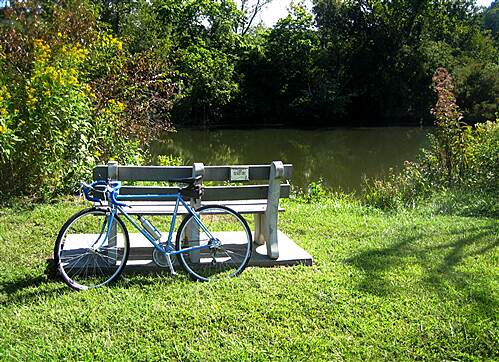 Little Tennessee River Greenway (Franklin)  A Memorial Bench with a tranqual view of the Little T