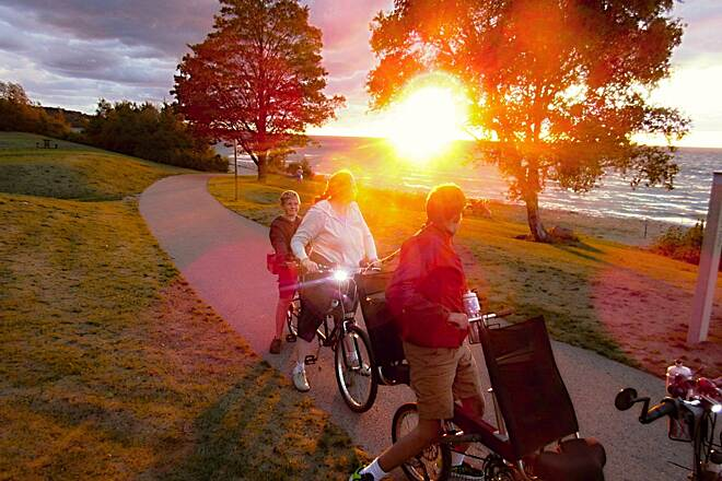 Little Traverse Wheelway Magificent Sunset over the Bay The sunset over Little Traverse Bay was spectacular on our evening ride/picnic.
