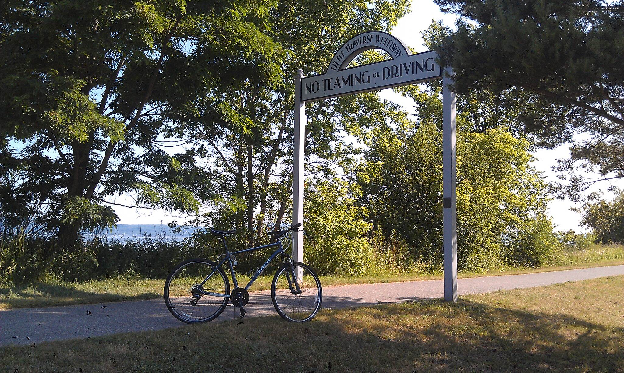 Little Traverse Wheelway Trail sign at Petoskey