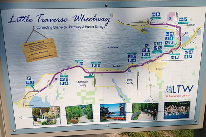 Little Traverse Wheelway LTWHW 7/2014 Trail Map sign. Trail runs 23.25 miles one way from Charlevoix MI to Harbor Springs MI. 7/2014