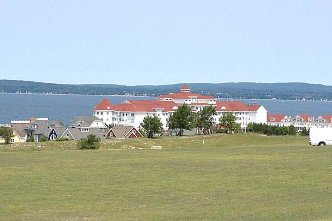 Little Traverse Wheelway LTWHW 7/2014 One of the Bay side Resorts at Bay Harbor. Do you see why people have been coming up here since the beginning of the 1900's?