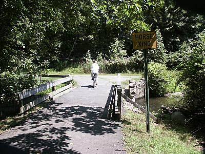 Loantaka Brook Reservation Trail Horse Crossing Other dirt trails for horses criss-cross the paved bike trail.  This bridge is for both.