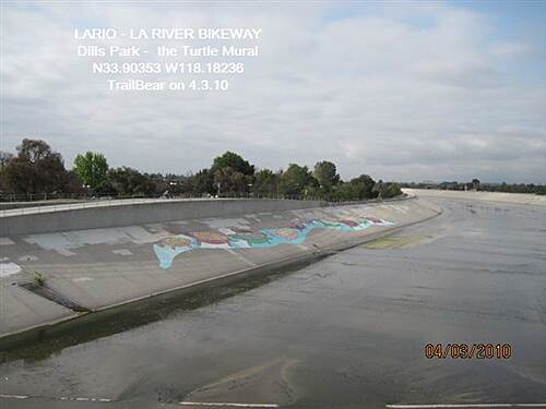 Los Angeles River Trail LARIO - LA River Bikeway Section Dills Park - the Turtle Mural