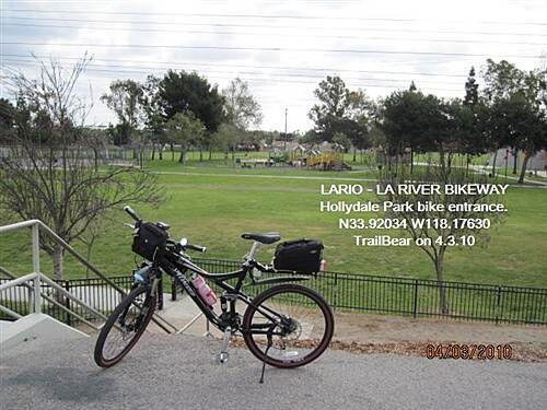 Los Angeles River Trail LARIO - LA River Bikeway Section The bike entrance to lower Hollydale Park