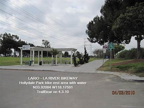 Los Angeles River Trail LARIO - LA River Bikeway Section Hollydale Park - bike rest area - shade, water, trash, racks.