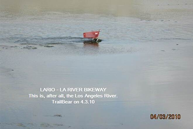 Los Angeles River Trail LARIO - LA River Bikeway Section Shopping cart still life