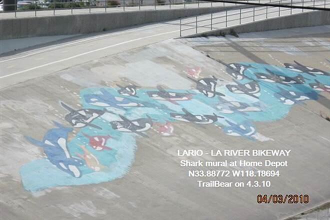 Los Angeles River Trail LARIO - LA River Bikeway Section Shark mural at Home Depot, Alondra Blvd.