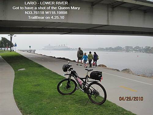 Los Angeles River Trail LARIO TRAIL - BOTTOM SECTION Queen's Way Bridge, Queen Mary & Carnival liner