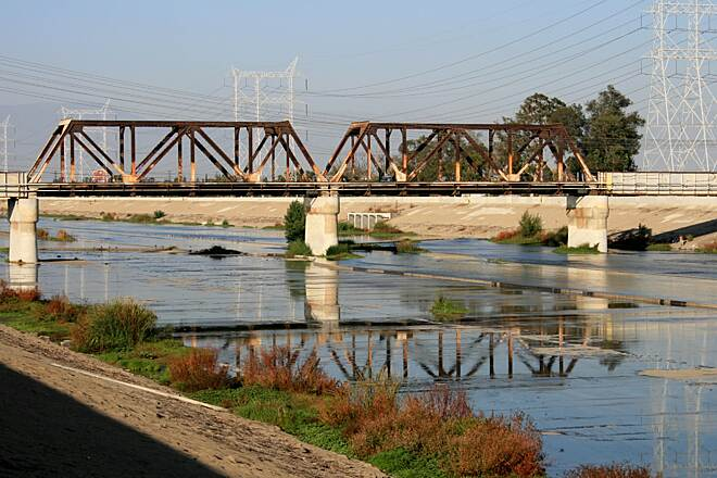 Los Angeles River Trail Bridge over the river
