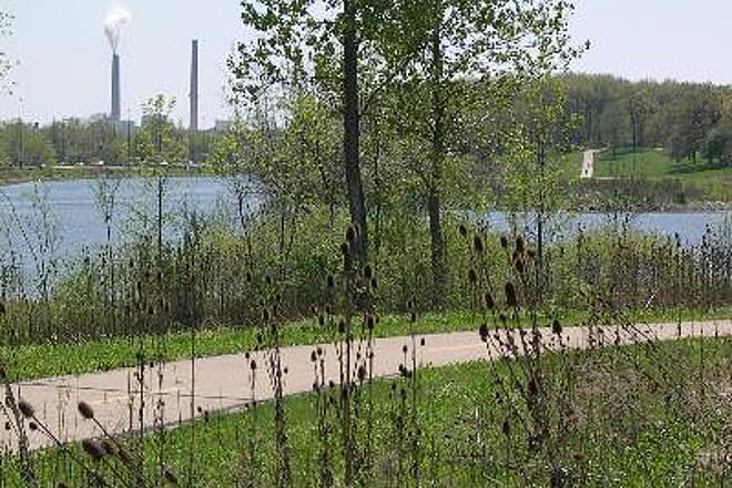 Lost Bridge Trail Lake Trailhead The trail wraps around the lake between the Illinois DOT headquarters and I-55 creating an impressive destination trailhead.