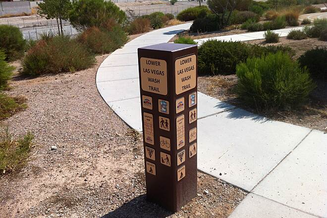 Lower Las Vegas Wash Trail Lower Las Vegas Wash Trail marker at Hammer/Coleman parking area