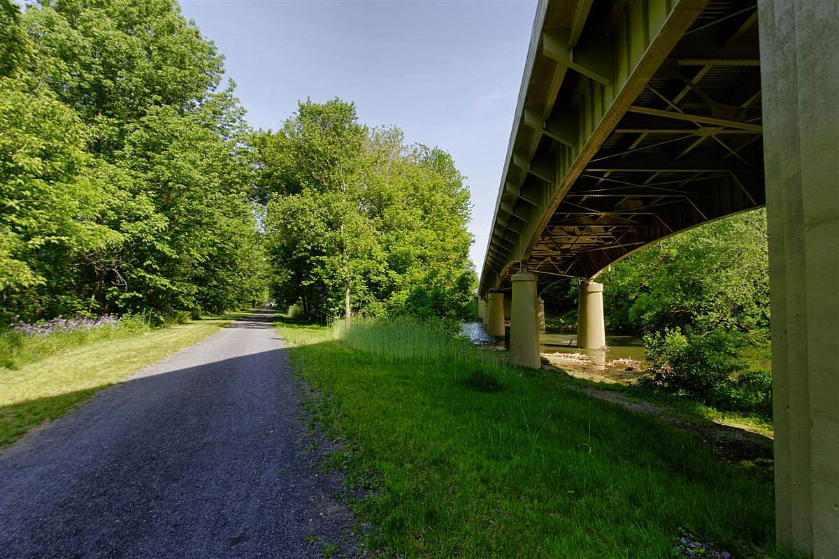 Lower Trail HWY Bridge Crosses The Trail and Frankstown Branch of the Juniata River