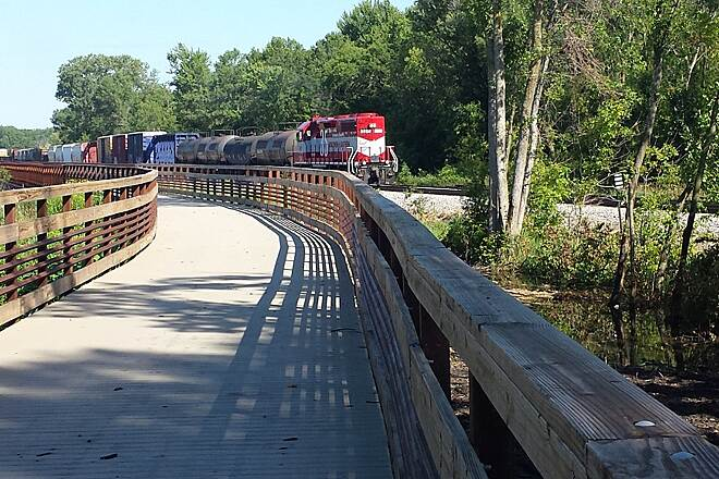 Lower Yahara River Trail Railfans can watch trains up close on the trail. Photo courtesy Dane County Parks