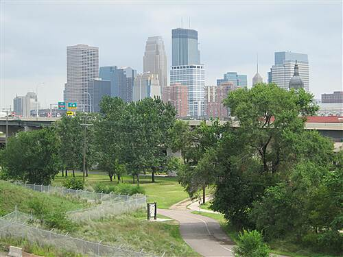 Luce Line Trail Bassett's Creek Trail #18 View of downtown Minneapolis from bridge