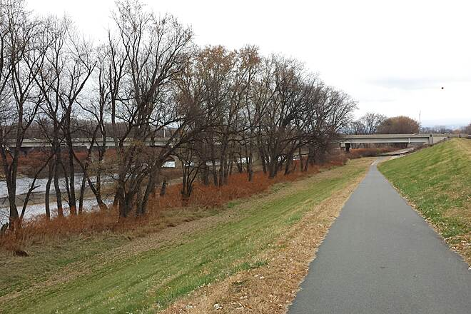 Luzerne County Levee Trail Under the Bridge The trail passes under the Carey Ave Bridge.