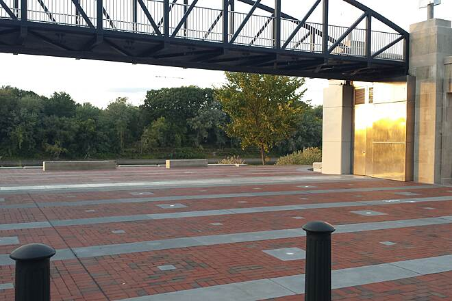 Luzerne County Levee Trail Portal A portal in the levee allows for a three way split in the trail. You can choose to use the city side or the river side or between the two is the top of the levee. This is part of the river common in Wilkes-Barre.