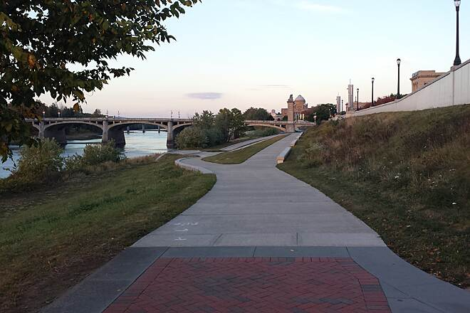 Luzerne County Levee Trail River Side of the Trail The trail along the Susquehanna River in Wilkes-Barre. You can see where the trail passes under the Market Street Bridge. The Luzerne County courthouse is in the background.