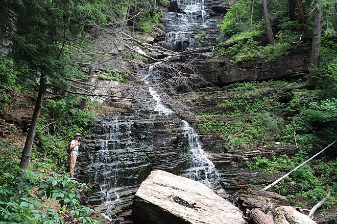 Lye Brook Falls Trail Lye Brook Falls July 2016 There wasn't much rain in Southern Vermont in July but the falls were still worth the hike.