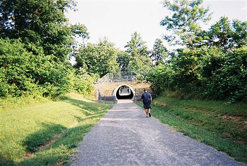 MA & PA Heritage Trail Ma & Pa Heritage Trail Approaching the Route 23 tunnel from the north. This tunnel is much smaller than the one on the southern section of the trail that passes under Route 24 near the Harford Mall.