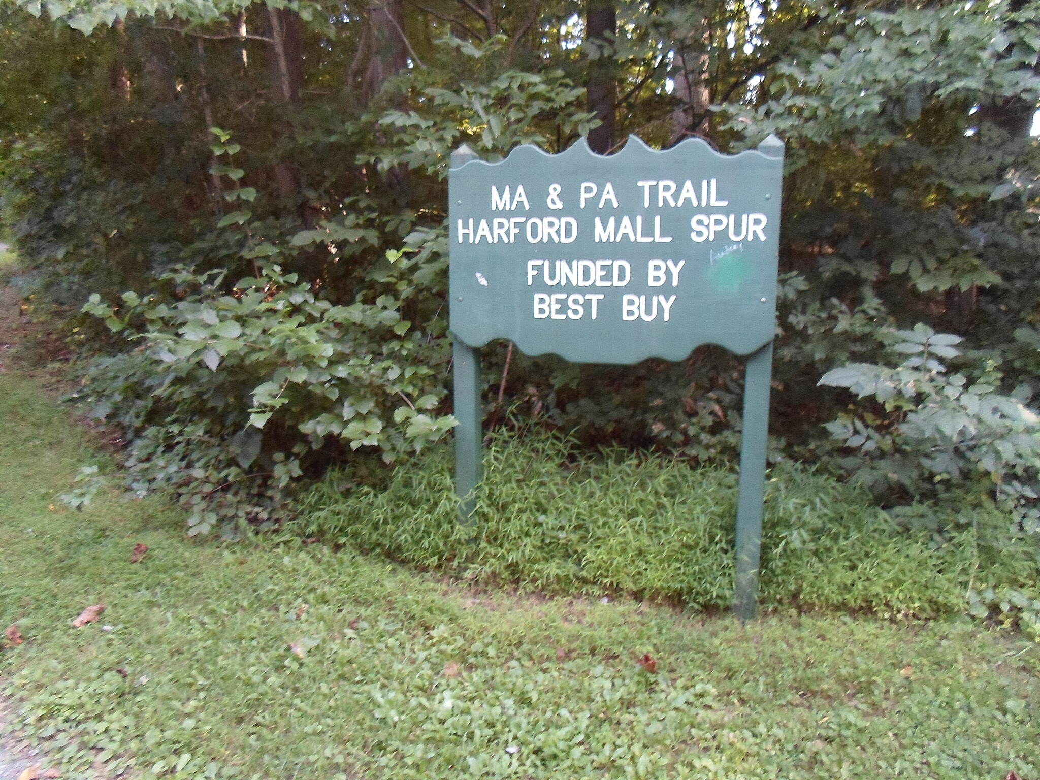 MA & PA Heritage Trail Ma & Pa Heritage Trail Sign at the beginning of the branch path to the Harford Mall. It's great when businesses take the initiative and lend their support to projects like these, instead of letting the burden fall entirely on the taxpayer. Taken Aug. 2014.