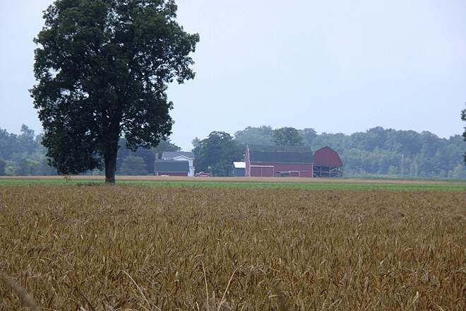 Macomb Orchard Trail View of a farm from the trail