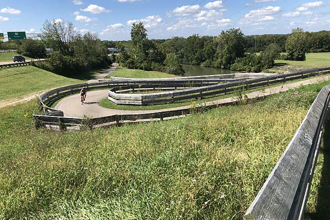 Mad River Trail Strange Twist? This series of switchbacks help riders/walkers to ascend or descend to the top of the Huffman Dam. at the eastern end of the trail.  -- Taken on September 15, 2018.