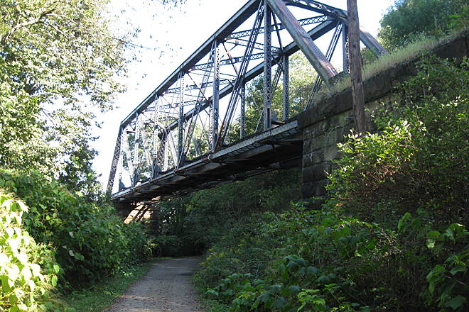 Mahoning Shadow Trail Railroad Bridge Over Trail Just a couple miles west from town is the railroad bridge.